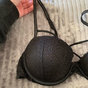 Black lace date night bra with straps